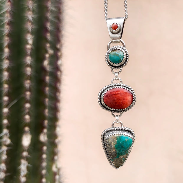 Cascading Morenci turquoise & red shell necklace in silver
