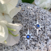 Star & moonstone threader earrings in silver