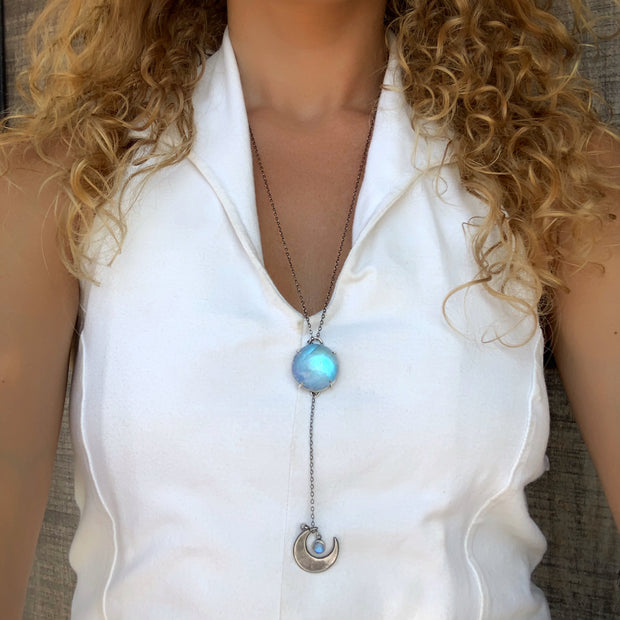 Moonstone & moon lariat necklace in silver