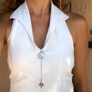 Moonstone & star lariat necklace in silver