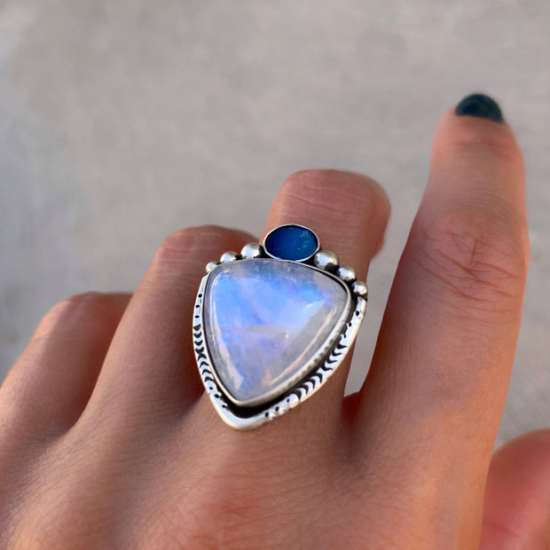 Moonstone and fire opal ring or necklace