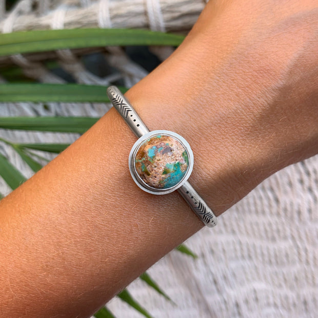 Hand-stamped Turquoise Mountain turquoise cuff in silver