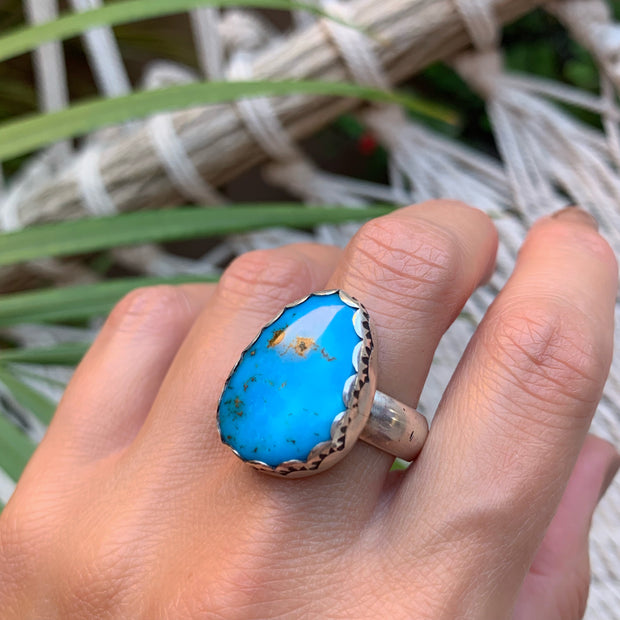 Nevada Blue turquoise ring in silver