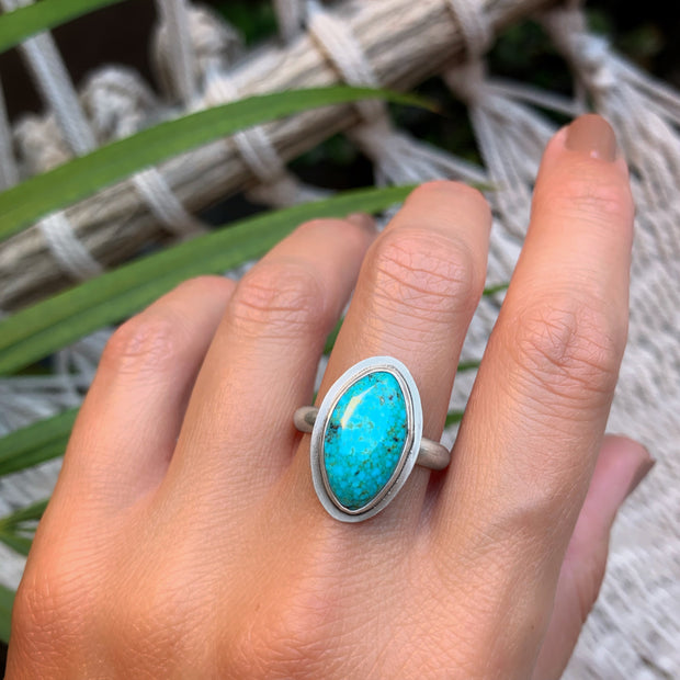 Number 8 turquoise ring in silver - size 11