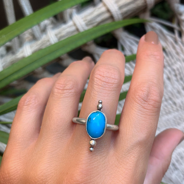 Cananea turquoise ring in silver - size 10 1/2
