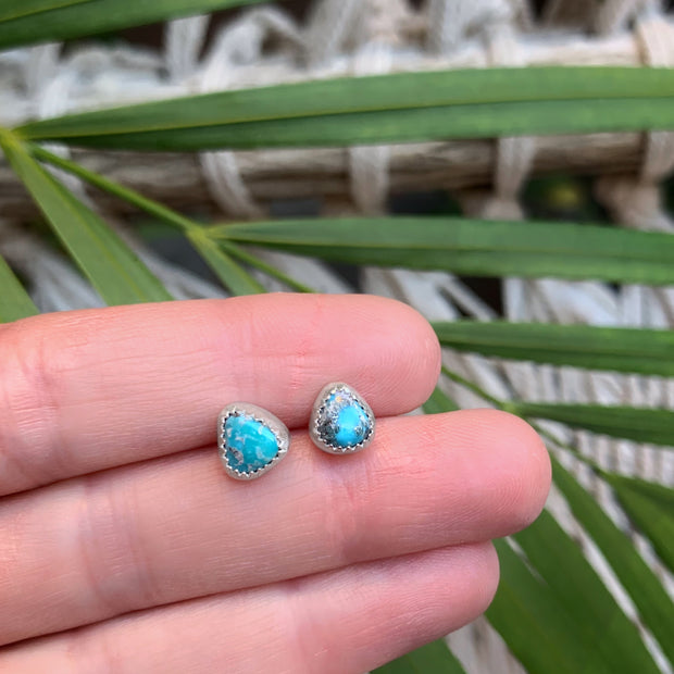 Whitewater turquoise studs in silver