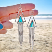 Hand-stamped triangle turquoise fringe earrings in silver