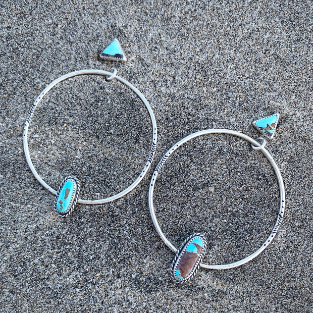 Turquoise studs with removable stamped turquoise hoops