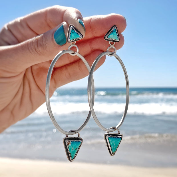 Turquoise studs with removable dangly turquoise hoops