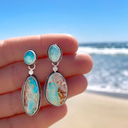 Turquoise studs with removable turquoise ear jackets