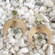 Hand-stamped brass moon earrings with aqua quartz & fluorite