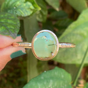 Hand-stamped Tibetan turquoise cuff in 14K gold-fill