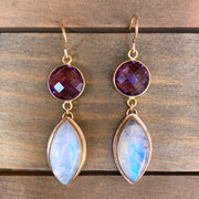 Moonstone & faceted amethyst dangle earrings in 14K gold-fill