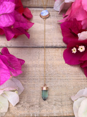 Moonstone & green fluorite lariat necklace in 14K gold-fill