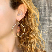 Native copper hoop earrings in 14K gold-fill