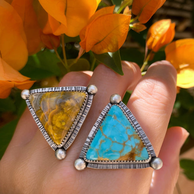 Double triangle ring with Royston turquoise and Bumble Bee jasper