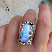 Small Victorian-style rectangular moonstone ring