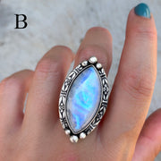 Rainbow moonstone ring in silver
