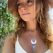 Cascading moon necklace with moonstone & Australian fire opal