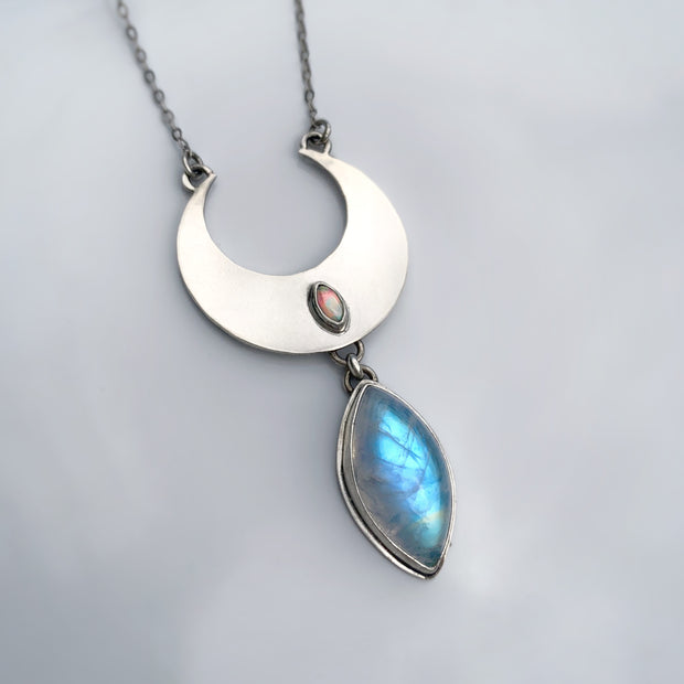 Cascading moon necklace with moonstone & Ethiopian fire welo opal