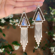 Moonstone triangle fringe earrings in silver