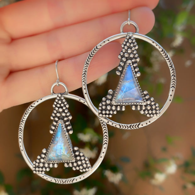 Moonstone triangle hoops with granulation