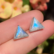 Moonstone triangle studs with removable stamped fringe ear jacket