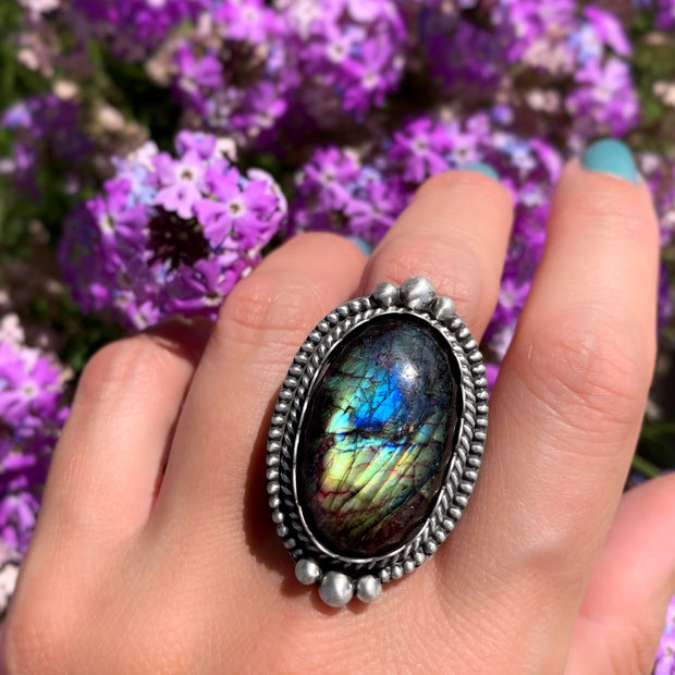 RESERVED FOR HAILEY - Deposit on labradorite ring in silver