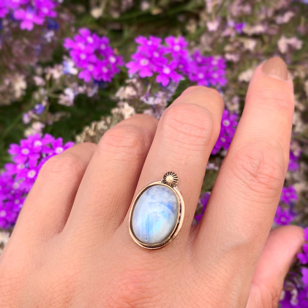 Blue moonstone set in 14K gold-fill with solid 14K gold star