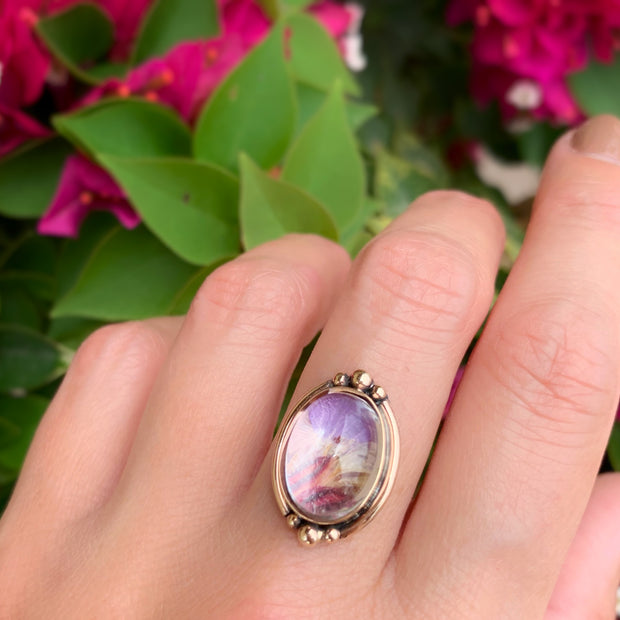 Flower terrarium ring in 14K gold-fill with solid 14K gold granules