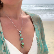 Cascading turquoise necklace in silver