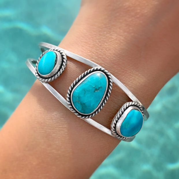 Triple-turquoise statement cuff in silver