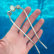 Hand-stamped variscite hair fork in silver