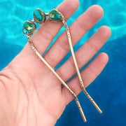 Hand-stamped turquoise hair fork in brass