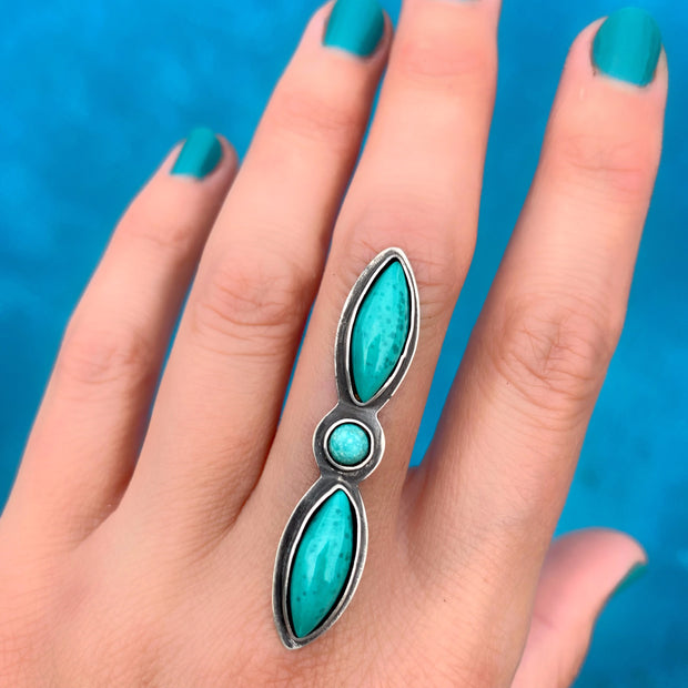 Marquise turquoise ring in silver