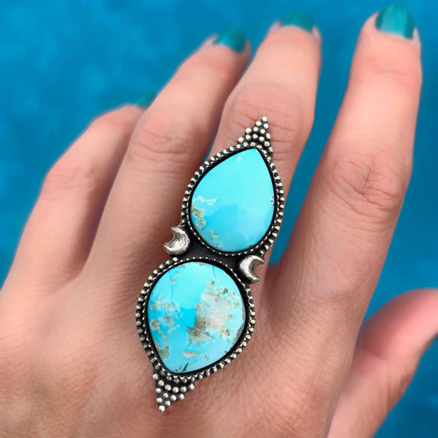 Double Campitos turquoise ring in silver