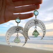 Made-to-order stamped silver moon earrings with aqua quartz & fluorite