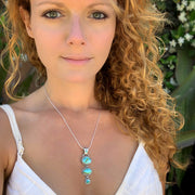 Cascading Sonoran Gold turquoise necklace in silver