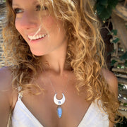 Cascading moonstone moon necklace in silver