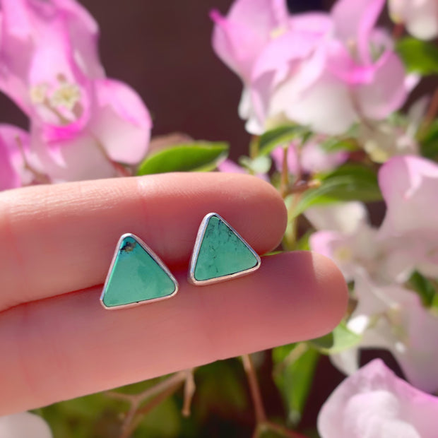 Turquoise triangle studs with removable stamped fringe ear jacket