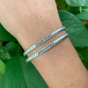RESERVED FOR MIA - Two custom hand-stamped cuffs in silver