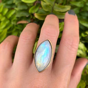 Rainbow moonstone ring in 14K gold-fill