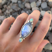Rainbow moonstone and fire opal ring in silver