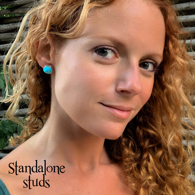 Turquoise studs with optional removable hoops, tassels or fringe add-ons