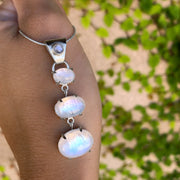 Cascading moonstone necklace in silver