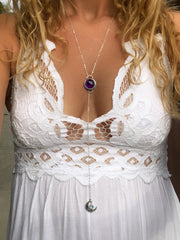Amethyst & moonstone lariat necklace in silver