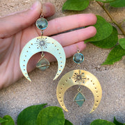 Lightweight brass moon earrings with aqua quartz & fluorite