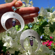 Silver moon earrings with aqua quartz & amethyst