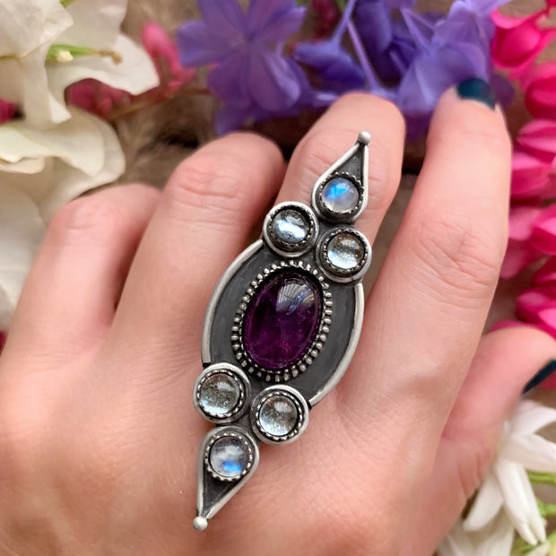 Esmeralda ring with amethyst, topaz & moonstone