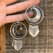 Celestial fringe hoop earrings with moonstone